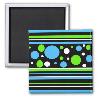 Teal Turquoise Blue Lime Green Stripes Polka Dots Fridge Magnet