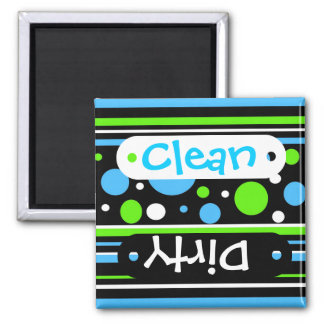Teal Turquoise Blue Lime Green Stripes Polka Dots Magnet