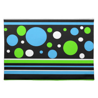 Teal Turquoise Blue Lime Green Stripes Polka Dots Placemat
