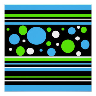Teal Turquoise Blue Lime Green Stripes Polka Dots Print