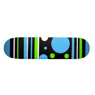 Teal Turquoise Blue Lime Green Stripes Polka Dots Skateboard Decks