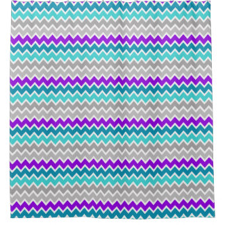 Teal Turquoise Blue Purple Grey Gray Chevron Shower Curtain