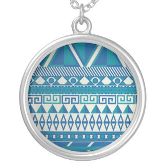 Teal Turquoise Blue Zigzag Pattern Pendant