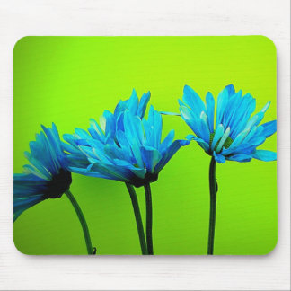 Teal Turquoise Daisies on Lime Green Flowers Gifts Mouse Pad