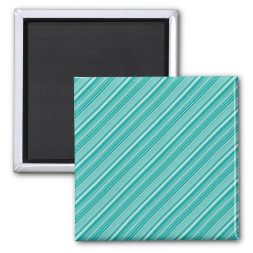 Teal Turquoise Diagonal Striped Pattern Gifts Fridge Magnets