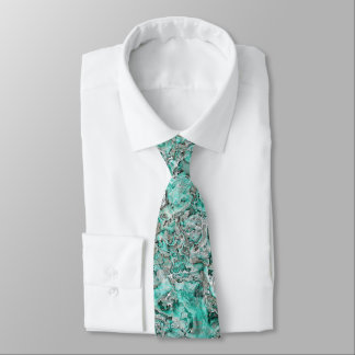 Teal Turquoise Faux Silver Minerals Agate Pattern Tie