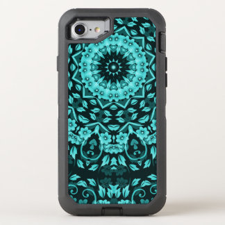 Teal Turquoise Floral Mandala OtterBox Defender iPhone 7 Case