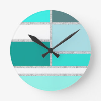 Teal & Turquoise Geometric Blocks Clocks