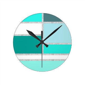 Teal & Turquoise Geometric Blocks Clocks