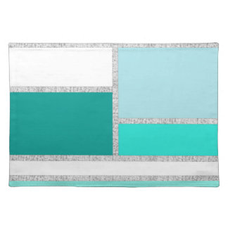 Teal & Turquoise Geometric Blocks Place Mats