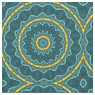 Teal Turquoise Gold Starburst Rings Tropical Print Fabric