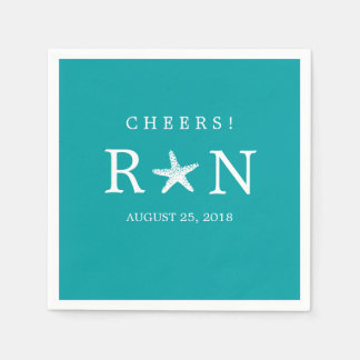 Teal Turquoise Monogram Starfish | Wedding Disposable Napkin