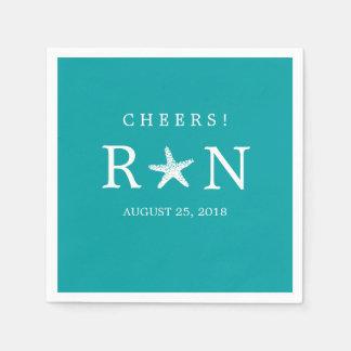 Teal Turquoise Monogram Starfish   Wedding Paper Napkins