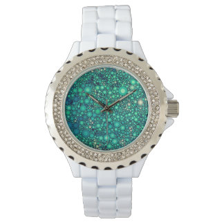 Teal Turquoise Multiple Circle Abstract Watch
