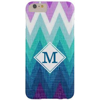 Teal Turquoise Purple Chevron Custom Monogram Barely There iPhone 6 Plus Case