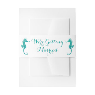 Teal Turquoise Seahorse Wedding - Wedding, Beach Invitation Belly Band