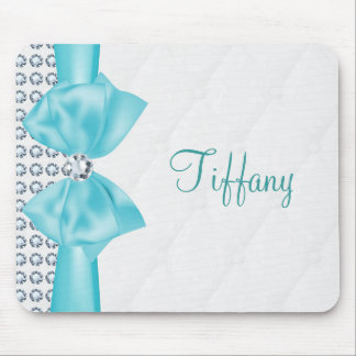 Teal Turquoise Tiffany Bow & Diamonds Mouse Pad