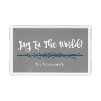 Teal Twigs Joy To The World Christmas Acrylic Tray