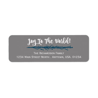 Teal Twigs Joy To The World Christmas Return Address Label