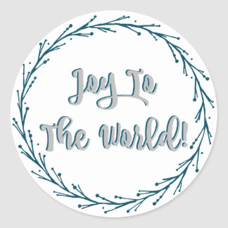 Teal Twigs Wreath Joy To The World Christmas Classic Round Sticker