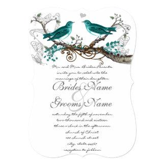 Teal Vintage Bird Wedding Invite extra Teal Leaves
