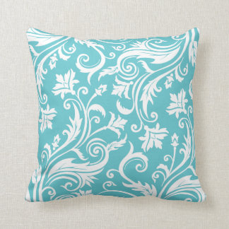 Teal Vintage Damask Pattern Pillows