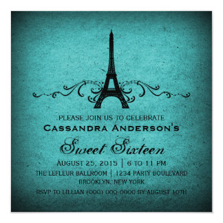 Teal Vintage French Flourish Sweet 16 Invite