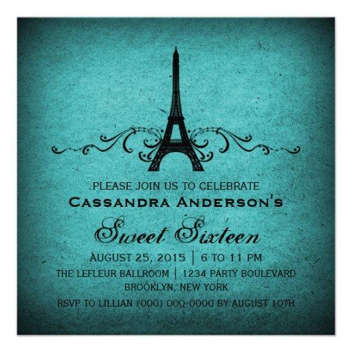 Teal Vintage French Flourish Sweet 16 Invite