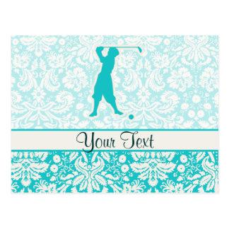 Teal Vintage Golfer Postcard