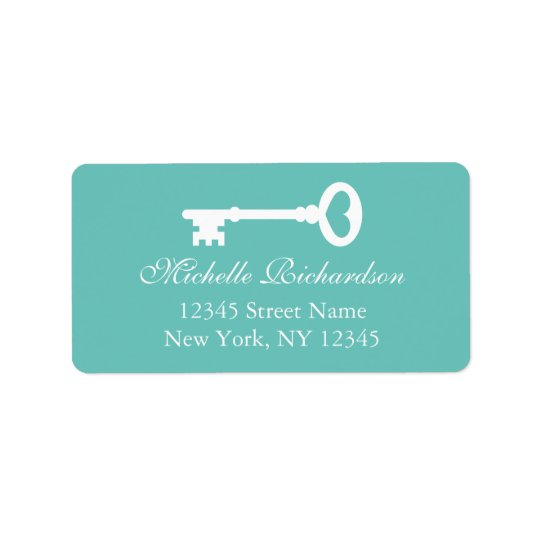 Teal vintage key to my heart wedding address label