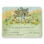 Teal Vintage Love Bird Flower Swirl Wedding RSVP