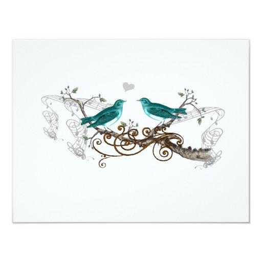 Teal Vintage Love Birds Wedding RSVP 11 Cm X 14 Cm Invitation Card