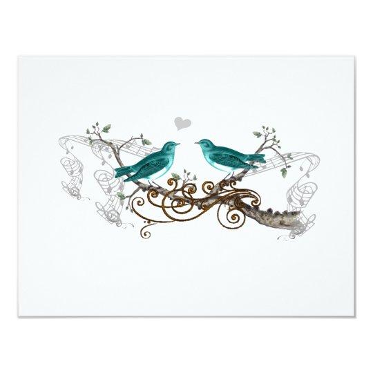 Teal Vintage Love Birds Wedding RSVP Card