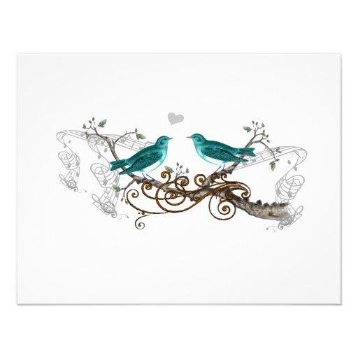 Teal Vintage Love Birds Wedding RSVP Custom Announcement
