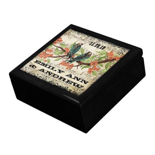 Teal Vintage Luv Bird Purple Cherry Blossom Branch Gift Box
