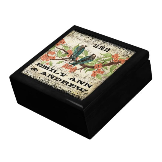 Teal Vintage Luv Bird Purple Cherry Blossom Branch Large Square Gift Box
