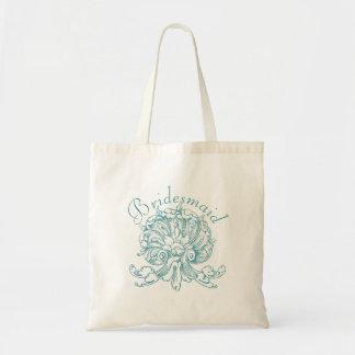 Teal Vintage Sea Shell Scroll Wedding Bridesmaid Tote Bag