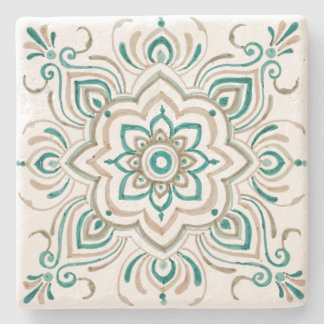 Teal Vintage Spanish tile coaster