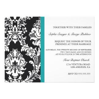 Teal Vintage Wedding Invitation