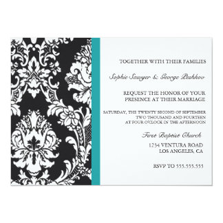 Teal Vintage Wedding Invitation