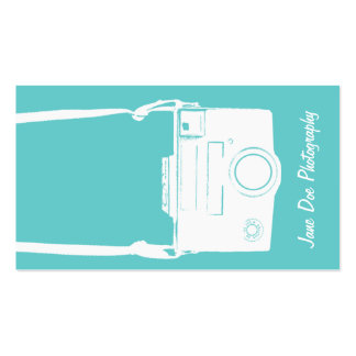 Teal Vintage White Film Camera Photography Pack Of Standard Business Cards