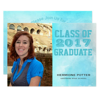 Teal Watercolor 2017 Photo Graduation Party Card