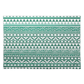Teal Watercolor Abstract Aztec Tribal Print Pattrn Cloth Placemat