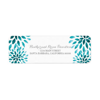 Teal Watercolor Chrysanthemums Address Labels