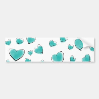Teal Watercolor Heart Polka Dot Sketch Bumper Sticker