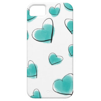 Teal Watercolor Heart Polka Dot Sketch iPhone 5 Covers