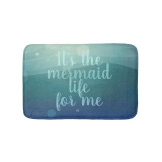 Teal Watercolor Modern Mermaid Life Quote Bath Mat