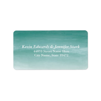 Teal Watercolor Ombre Address Label