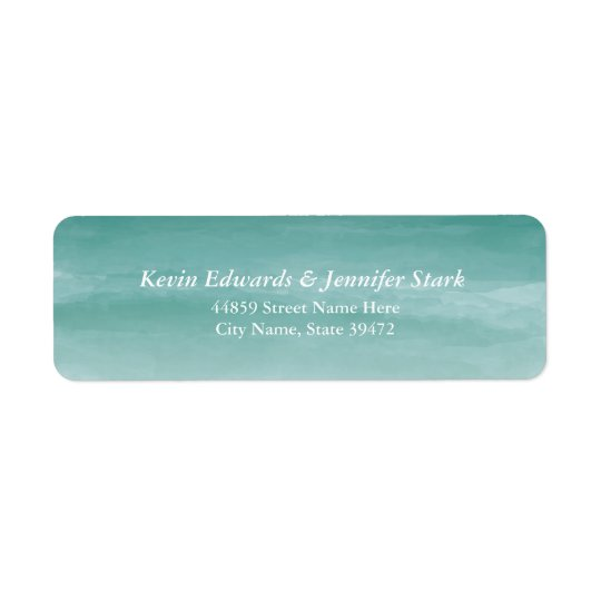 Teal Watercolor Ombre Return Address Label