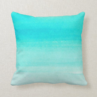 Teal Watercolor Ombre Throw Pillow